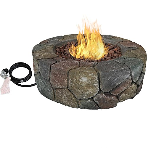 Sunnydaze Cast Stone Propane Gas Fire Pit with Lava Rocks, Outdoor Patio and Backyard Fireplace, 30 Inch