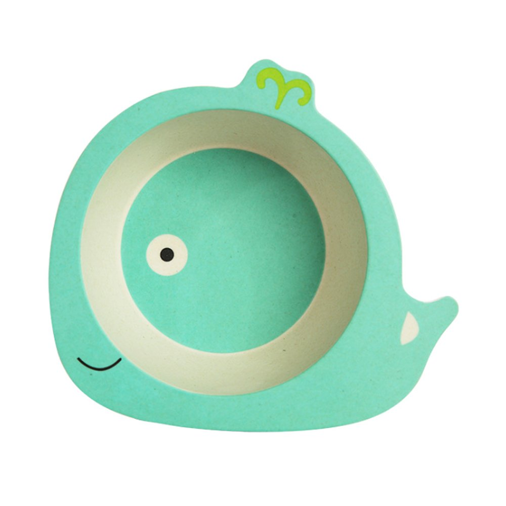 Newin Star Bamboo Fibre Tableware, Baby, Dish Bowl for Baby, with design animated Crockery Set for Baby and Child (Whale)
