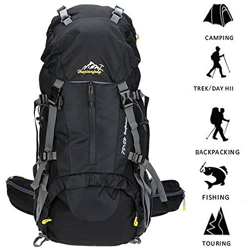 Hiking Backpack ONEPACK 50L(45+5) Waterproof Backpacking Outdoor Sport Daypack for Climbing Mountaineering Camping Fishing Travel Cycling Skiing with Rain Cover (Black)