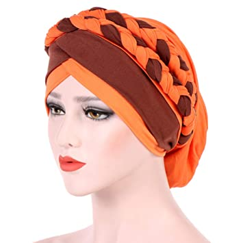Womens Braid Turban Headwear For Cancer Stretch Long Hair Scarf Turban Headband Tie (Orange)