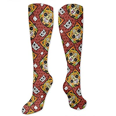 MSONNET Calavera Day of The Dead Cat 3D Printing Cool Athletic Socks Sports Socks Compression Socks Football Socks Long Socks Knee High Socks for Boys Girls Kids Toddler