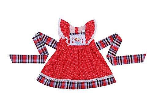 (Babeeni Smocked Dresses for Girls Featured with Angles Sleeve and Hand-Smocked Cute Couple Pattern on The Chest (12M))