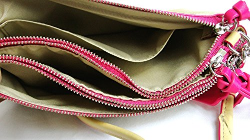 Bleecker Leather Pink Camel Edgepaint NWT Tri Zip Coach Crossbody Ruby F51636 1x4wYqE
