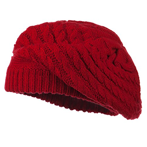 Women's Cable Knit Beret - Red OSFM
