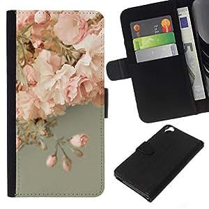 All Phone Most Case / Oferta Especial Cáscara Funda de cuero Monedero Cubierta de proteccion Caso / Wallet Case for HTC Desire 820 // Pink Roses Decoration Design