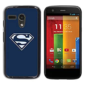 A-type Arte & diseño plástico duro Fundas Cover Cubre Hard Case Cover para Motorola Moto G 1 1ST Gen (Superhero Logo S)