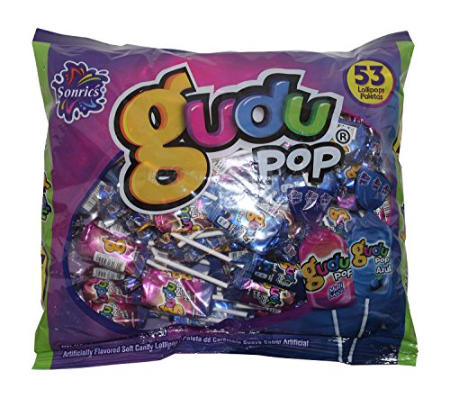 Sonrics Gudu Pop Mix Soft Candy Mexican Lollipops. 15.8 oz Bag of Gudu Pop Azul and Multi Sabor.