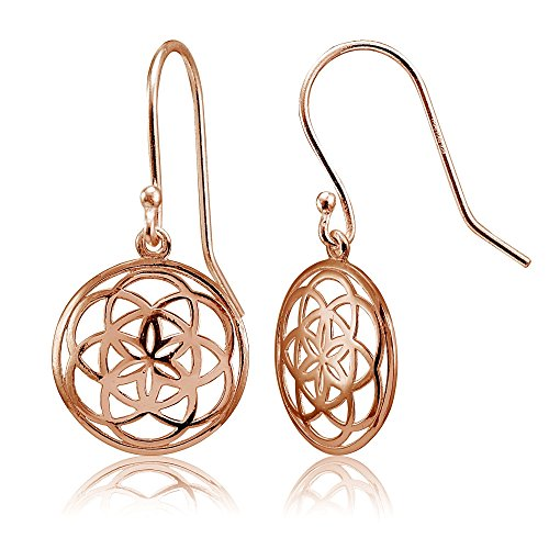 Celtic Gold Jewelry (Rose Gold Flashed Sterling Silver High Polished Celtic Knot Round Dangle Earrings)