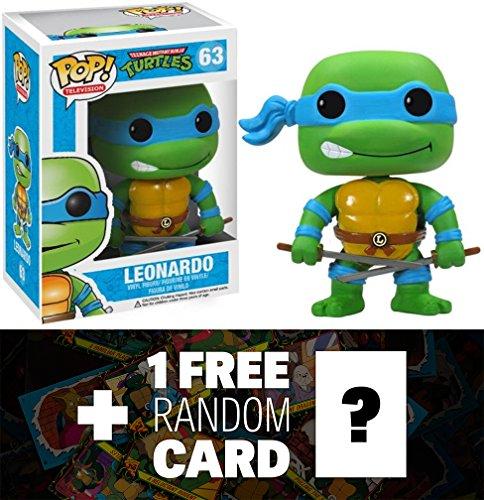 "Leonardo: ~3.7"" Funko POP! x TMNT Vinyl Figure + 1 FREE Official classic TMNT Trading Card Bundle"