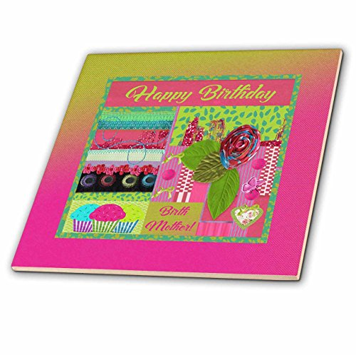 3dRose Beverly Turner Birthday Design - Birthday to Birth Mother, Pink, Green, Rose, Bows, Heart, Butterfly - 8 Inch Glass Tile (8 Inch Birth Plate)