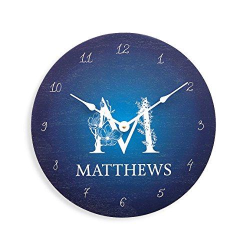 Personalized blue wall clock. Monogram wall clock. Wood wall clock. Anniversary clock. Family name clock. by Abeo Designs Inc