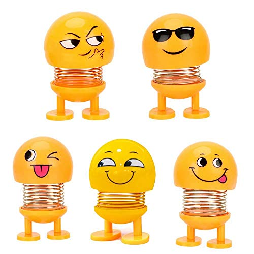 (Cute Emoji Bobble Head Dolls, Dancing Funny Smiley Face Springs Dancing Toys for Car Dashboard Ornaments, Party Favors, Gifts, Home Decorations(4 Pcs))