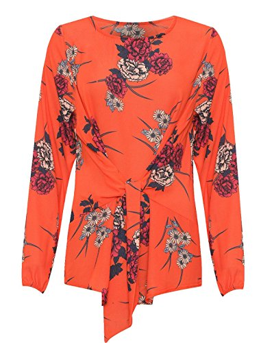 Manches Floral Orange Red Longues 21fashion Chemisier Imprimé Femme EfwBEOxY