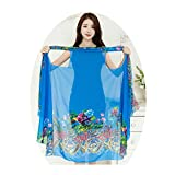 VWU Womens Magic Shawl Versatile Scarf, Can Be Dress/Vest/Bolero/Towel/Kilt/Shirt/Poncho/Beach Cover Ups and More Variation (ONE Size FIT More: 170105CM/7041IN, Style d01: Blue and Print)