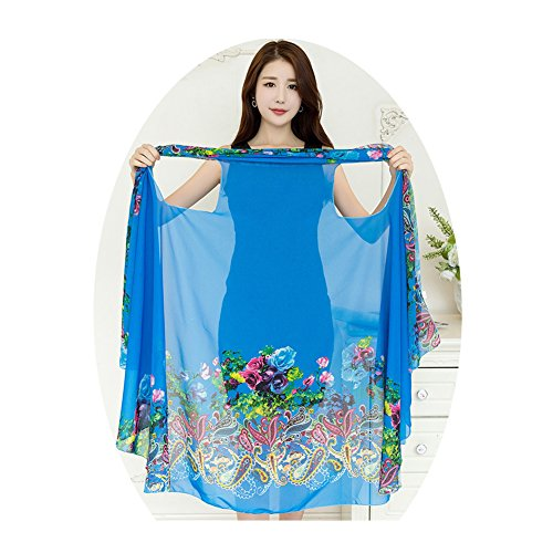 VWU Womens Magic Shawl Versatile Scarf, Can Be Dress/Vest/Bolero/Towel/Kilt/Shirt/Poncho/Beach Cover Ups and More Variation (ONE Size FIT More: 170105CM/7041IN, Style d01: Blue and Print) by VWU