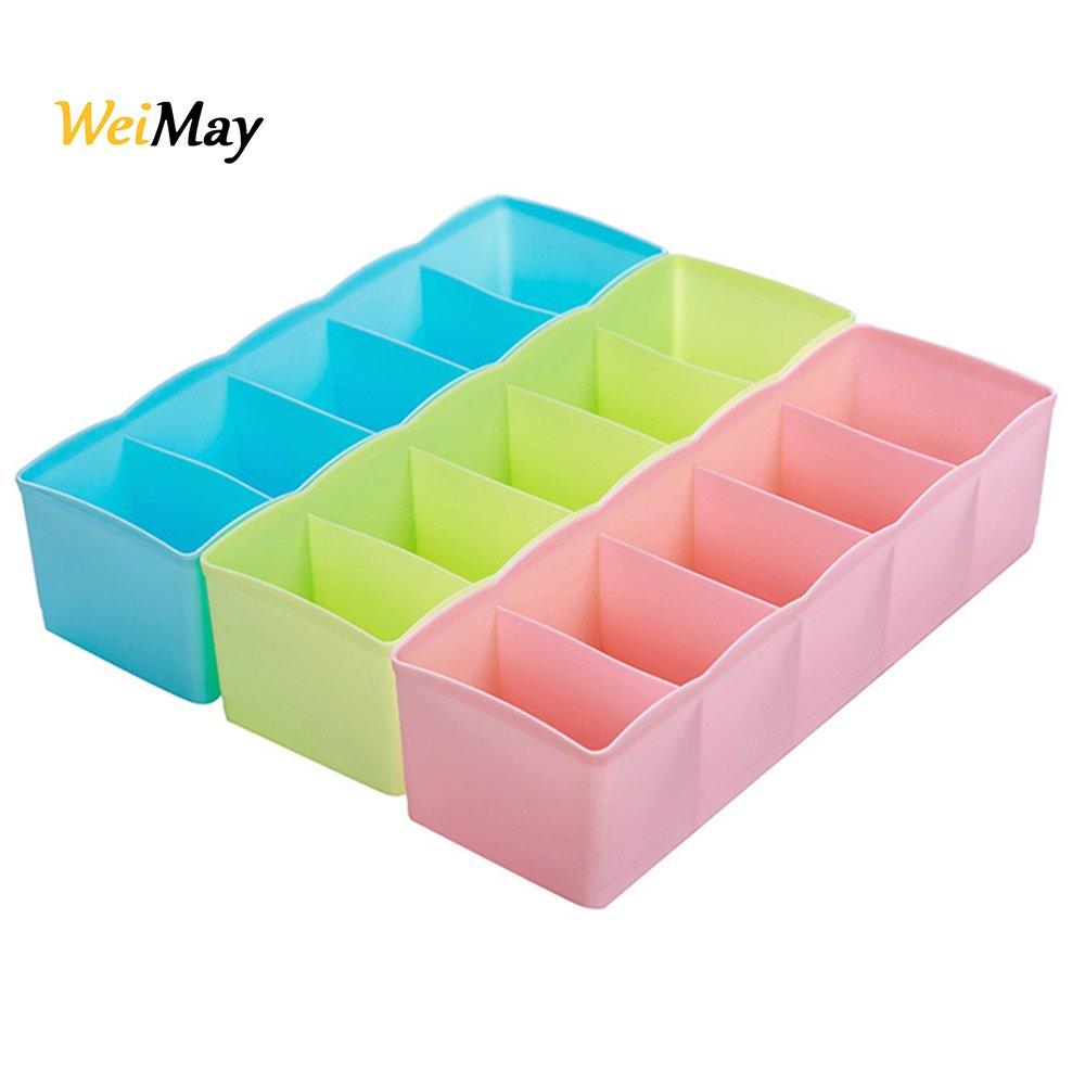 Weimay Caja de almacenamiento Multi-función Cinco Grid ropa interior de plástico calcetín Separadores Organizador de la caja de escritorio Cajón armario Organizador 3pcs