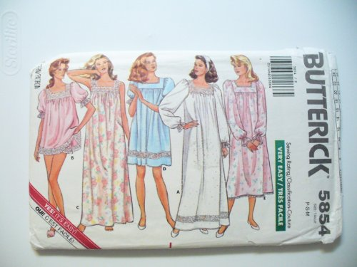Butterick Sewing Pattern 5854 Vintage Nightgowns SZ P-S-M - Vintage Nightgown Patterns