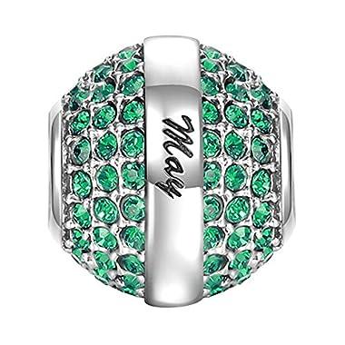 SOUFEEL May Birthstone Charm Dark Green Swarovski Crystal 925 Sterling Silver Charms Fit European Bracelet