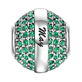 SOUFEEL May Birthstone Charm Dark Green Swarovski Crystal 925 Sterling Silver Charms Fit European Bracelet