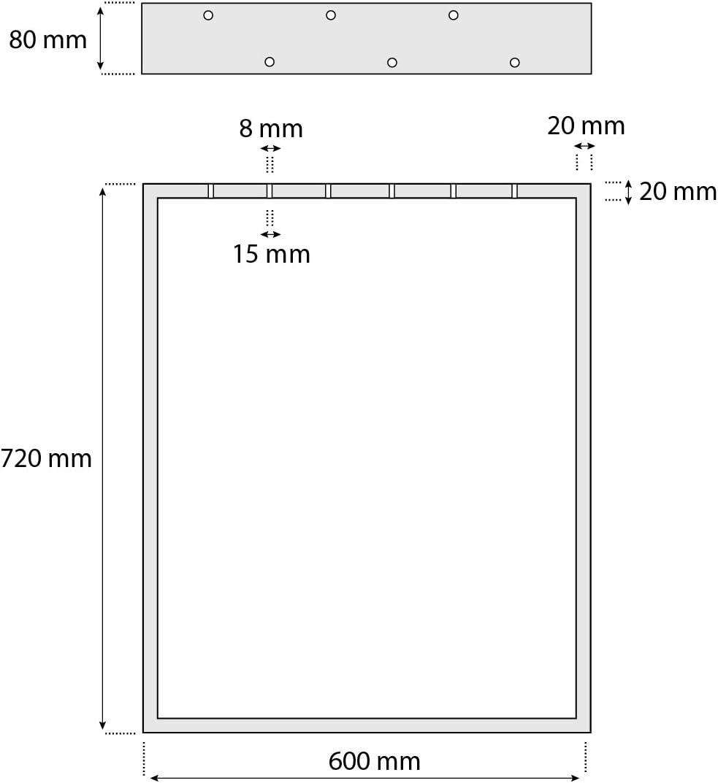 Gris Anthracite HLT-01-C-EE-7016 HOLZBRINK 1x Pied de Table en Profil/és dAcier 80x20 mm Cadre 70x72 cm