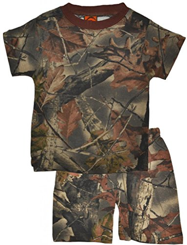 Trail Crest Toddler Boys Cotton Camo Short Sleeves T-Shirt and Pants Set W/ Magnet, 3T