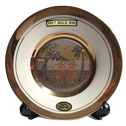 The Art of CHOKIN Fine Porcelain Collectible Plate 24KT Gold Rims (6.5 inches) - HAWAII Hula Boy & Hula Girl w/Diamond Head & Palm Tree Design, Cream/White Color