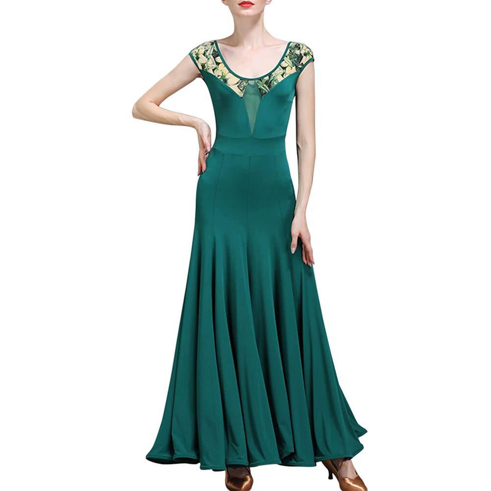 Dark Green BESBOMIG Modern Dance Standard Dresses Women  VBack Dance Skirt Referee Clothing