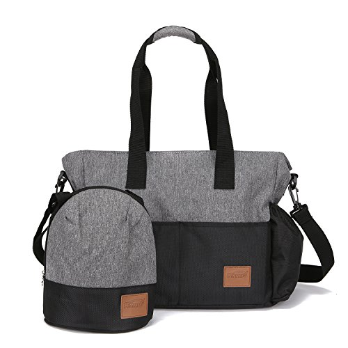 Stylish Diaper Bag Organizer for Moms, Plus Baby Tote Insulated Bottle Sack - Heather Grey + Black