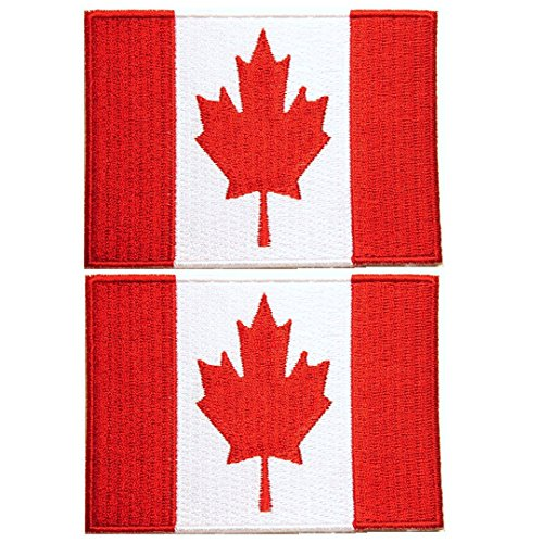 Patch, Canadian Flag, Embroidered, 2 Pack, 3 COLORS, ( 2.5