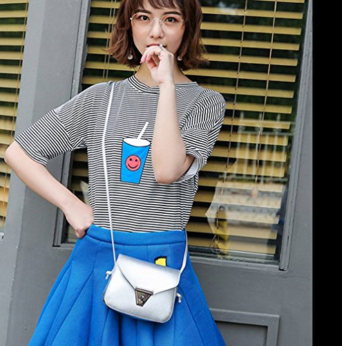 Shoulder Crossbody Satchel Silver Mini Leather Bag Cellphone Wallet Sling Pouch Purse YaJaMa EwxtpqBE
