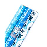 Hallmark Holiday Reversible Wrapping Paper (Winter Scene, 3 Pack)
