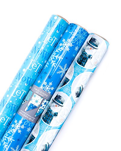 Hallmark Reversible Holiday Wrapping Paper Bundle, Winter Scene (Pack of 3, 120 sq. ft. ttl.)