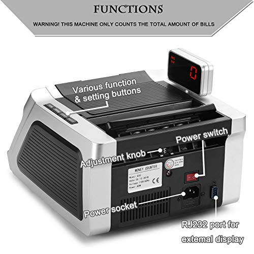 Money Counter with UV, Magnetic and Infrared Counterfeit Detection, Bill Counting Machine with Higher speeds, 1000 Bills Per Minute, Professional Cash Counting Machine and 1 Year Warranty by JUNUO (Image #2)