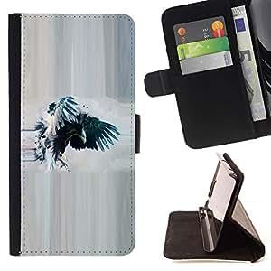Momo Phone Case / Flip Funda de Cuero Case Cover - Cuervo Cuervo Acuarela Eagle Wings - Samsung Galaxy S5 Mini, SM-G800