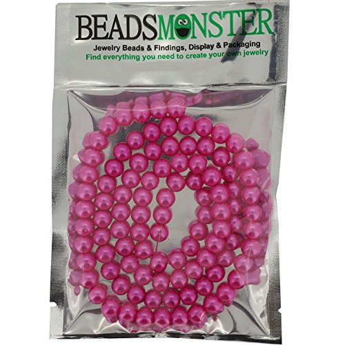 Glass Pearl Pearlescent Beads 8mm Round 1mm Hole , Hot Pink , 100pcs, Jewelry Making ()