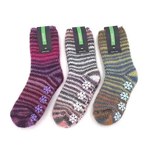 PURRFULL 3 pares de calcetines de niño de estar por casa en valiosa lana con goma antideslizantes - Mod. TOUCHINO Multicolor - Talla 31/34: Amazon.es: Ropa ...