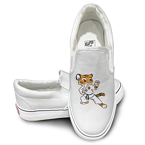 CAPA Unisex Slip-on Shoes Kungfu Tiger Flat Canvas Sneaker 42 White