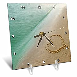 3dRose dc_173299_1 Heart Shape Symbolizing Love, Heart Carved in Sand on The Beach Desk Clock, 6 by 6