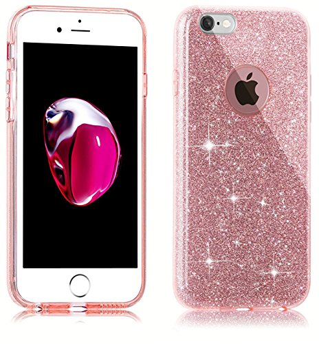 Funda para iPhone 7, Ukayfe Suave Carcasa Caso Parachoques Diseño pintado Patrón para iPhone 7,Funda Case Lujo Premium Bling Caja PC Dura Ultra Fina Cubierta Matt Glitter Protectora Caja Shiny Back Es Triple Glitter-rose