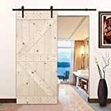 "LUBANN 38""x84"" Unfinished Solid Wood Rustic Bristish Brace Style Sliding Barn Door Slab for Home"