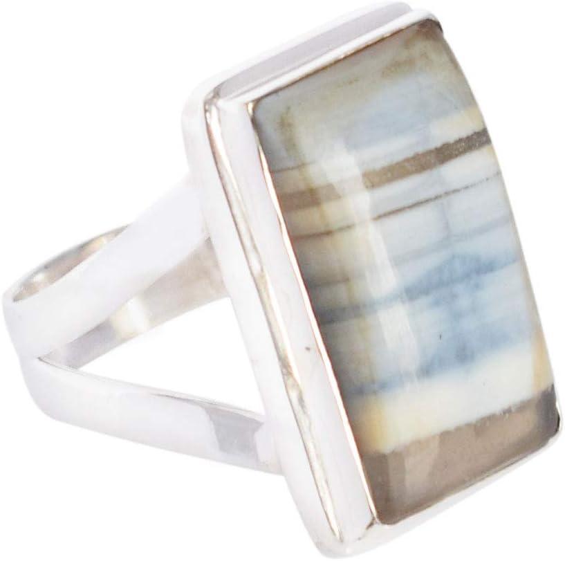 Anillo de plata de ley 925 con ópalo azul peruano natural para hombre, hecho a mano, anillo ajustable, joyería para mujer, FSJ-3725