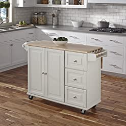 Farmhouse Kitchen Home Styles Liberty Kitchen Cart with Wood Top – White farmhouse kitchen islands and carts