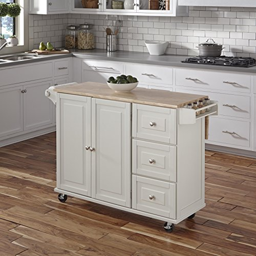 Homestyles 2 Drawer Cabinet - Liberty White Kitchen Cart with Wood Top by Home Styles
