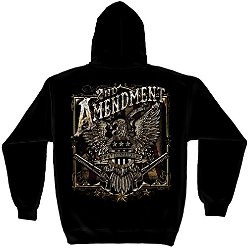 - Patriotic Hooded Sweatshirt, 50/50 Cotton Poly Blend Casual Mens Shirts, Show Your Pride with Our 2nd Amendment Eagle Silver Foil Long Sleeve Sweatshirts for Men or Women (Medium)