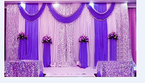 LB Wedding Stage Decorations Backdrop Party Drapes with Swag Silk Fabric Curtain (Ivory White + Purple) ()