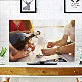 Philiphome Television Protector Friends with Glasse Champagne on Yacht Vacation Travel sea Television Protector W19 x H30 INCH/TV 32''
