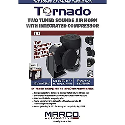 SUPER LOUD MARCO TORNADO Compact Air Horn for ALL 12V Vehicles: Motorcycles, Cars, & Trucks: Automotive