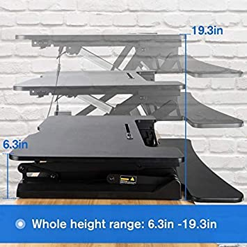 Electric Height Adjustable Standing Desk Converter with 36 Wide Office Tabletop Workstation, Sit to Stand up Computer Platform Monitor Riser
