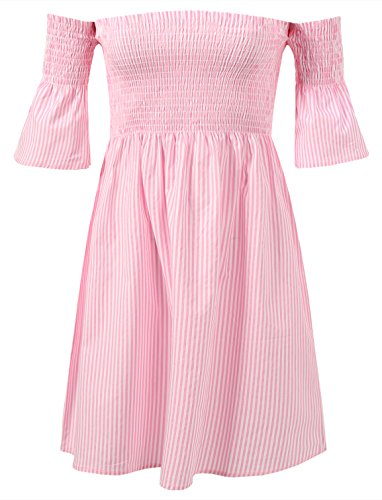 7 Encounter Women's Striped Off The Shoulder Smocked Dress Pink Stripe Small