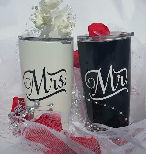 Yeti Rambler 20 Oz Tumbler, Stainless Steel, with Lid, Wedding Set, Mr. and Mrs.,(Gloss Black and Pearl White) by YETI